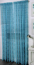 1 PAIR GLAMOUR HOME CAPRICE GENIE AQUA ROD POCKET CURTAINS 2 X 140CM X 213CM