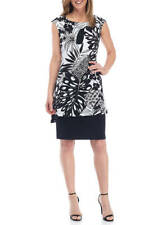 NWT CONNECTED WHITE BLACK FLORAL FLORAL CAREER TUNIC DRESS SIZE 14 SIZE 16 $98