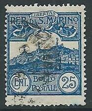 1903 SAN MARINO USATO VEDUTA 25 CENT - M5-7