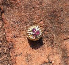 Solid 10K Yellow Gold Vintage Bracelet Slide Charm Ruby & Diamond Flower Nice