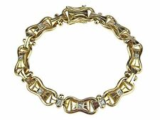 14 K 585 Gelb Gold 0,20 ct Diamant Brillant Tennis Armband 19,3 cm 15,4 gr