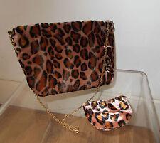 Vintage velours synthétique imprimé léopard Convertible Chaîne Pochette & sac à main