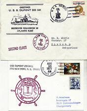 1961 & 1977 USS DUPONT DD 941 US Destroyer deux mises en cache couvre