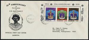 Barbuda 348a-c on addressed FDC - Queen Elizabeth 25th Anniv Coronation, Crown