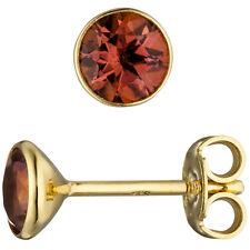 Turmalinohrringe 2 Turmaline rosa 585 Gold Gelbgold Ohrstecker rund 46903