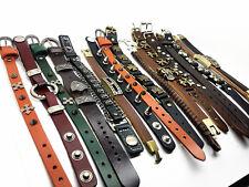 new 10PCs/lot men's women's retro Genuine Leather punk rock cuff bracelets