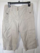 Dalia Collection Beige Khaki Linen Capris 10 EUC
