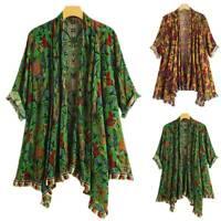 Women Boho Shawl Kimono Cardigans Ethnic Floral Beach Tassels Wrap Tops Cover Up
