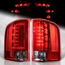 For Chevy Silverado 1500 2500 3500/GMC Sierra C-Style LED Red/Clear Tail Lights