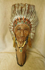 """Chief Red Hawk Sculpture ~ Clay on Bark Wood~ Artist Signed~20"""" ~ FREE SHIP~"""