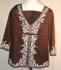 Michael Kors Womens Ladies Brown Embroidered Empire Blouse Top Shirt Sz M