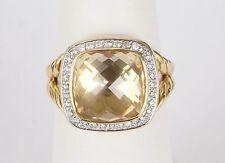 18k Yellow Gold David Yurman Diamond Albion Citrine 11mm Ring Size 7.25