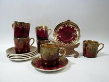 Old Crown Devon Fieldings Flambe Red Gold Interior 6 Demitasse Cups & Saucers