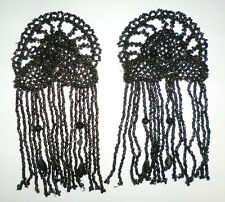 Antique French Victorian Mourning Beaded Jet Black Glass Trim Applique 2pc