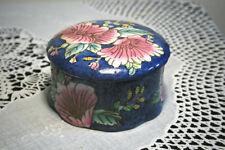 Porcelain Lidded Trinket Box Blue with Pink Floral Cloisonne Marked AN9