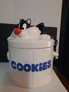 """Vintage Ceramic Large Cookie Jar Warner Bros. Inc. Silvester The Cat """"RARE"""""""