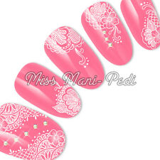 Nail Art Water Transfers Decals Delicate, White, Mehndi or Henna Style Lace S004