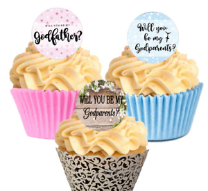 Will you be my Godparents Godmother Godfather Cupcake Decorations Toppers