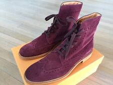 850$ Tod's Burgundy Wingtip Suede Ankle Boots Size US 10 Made in Italy