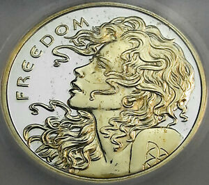 2014 SILVER SHIELD FREEDOM GIRL SILVER ROUND ICG GENUINE GOLD GILDED