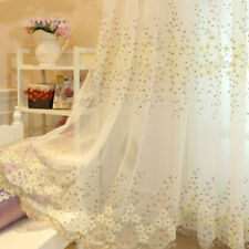 Tulle Voile Door Window Curtains Embroidery Drape Panel Sheer Scarf Divider