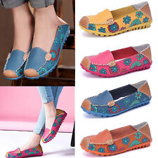 Women Soft Leather Flats Flower Floral Pumps Loafers Ballet Casual Shoes New UK