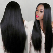 Women Black Long Straight Full Wig Heat Resistant Synthetic Hair Black Ombre
