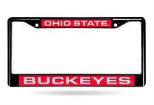 Ohio State Buckeyes Mirrored Laser Cut Black Chrome Metal License Plate Frame