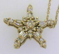 14K gold elegant .90CTW VS/G Diamond Cluster Star Pendant with 14K chain