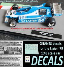 Formula 1 car collection Ligier JS11 GITANES water slide DECALS 1:43 scale F1