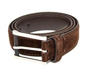 "Ermenegildo Zegna Brown Suede Leather Mens Belt - 100 / 38"" - Made in Italy"