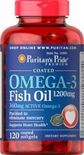 Omega - 3 aceite de pescado recubierto de 1200 MG (360 MG de Active Omega - 3) X 120 Comprimidos Cápsulas