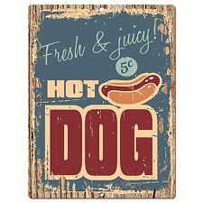 PP0391 Rust HOT DOG Plate Sign Bar Store Shop Cafeteria Restaurant Kitchen Decor