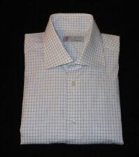 MISSONI WHITE/BLUE CHECKS LONG SLEEVES FINE COTTON DRESS SHIRT. MIS3227A6