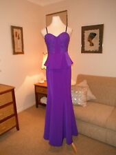 Designer Bariano Fluro Purple Evening/Formal Gown Size 10