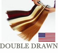 "UK STOCK double drawn 16-24"" Tape in Remy Straight 100% Human Hair Extensions"