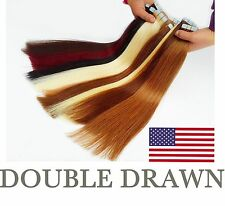 """UK STOCK double drawn 16-24"""" Tape in Remy Straight 100% Human Hair Extensions"""