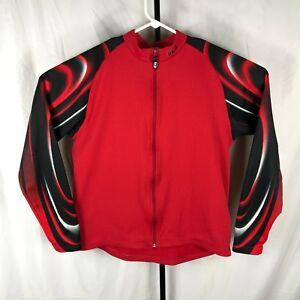 Louis Garneau LG Mens Medium Red Thermal Long Sleeve Jersey Road Cycling