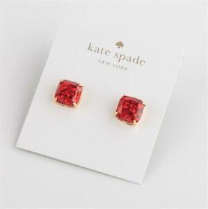 Kate Spade New York Mini Square Stud Red Glitter Earrings