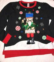 Holiday Time Ugly Black Red Christmas Sweater Toy Solider Size XL