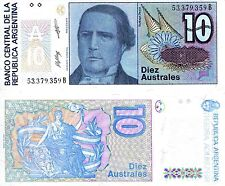 ARGENTINA 10 Austral Banknote World Paper Money UN Currency Pick p325b Note Bill