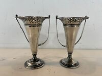 Antique Webster Sterling Pair of Handled Miniature Trumpet Floral Baskets