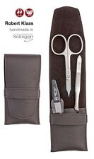 ROBERT KLAAS HANDMADE SOLINGEN COMBINED NAIL SCISSORS 3 MANICURE SET CASE BROWN