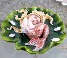 Small Mermaid Figurine Pink Fins Sleeping On Lily Pad Ornate Fantasy Decor