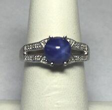 Plata Ley Redondo 7mm Sintético Estrella Azul Zafiro & Diamante