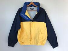Vintage 90s Nautica Sailing Yellow Windbreaker Jacket sz L Hooded Full ZIP Lined