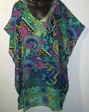 Top Fits 1X 2X 3X Plus Green Purple Sheer Caftan Sequin V Neck Tunic NWT 4036