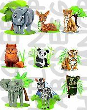 SET 9  ADESIVI FINESTRA ANIMALI GIUNGLA WINDOWS STICKERS VETRI elefante koala