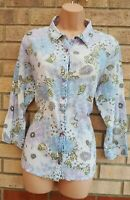 AMARANTO WHITE BLUE FLORAL 3/4 SLEEVE BUTTONED T SHIRT TUNIC TOP TOP 18