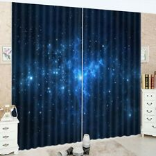 2 Panels Outer Space Scenery 3D Window Fabric Curtain Drapes Darkening Blockout